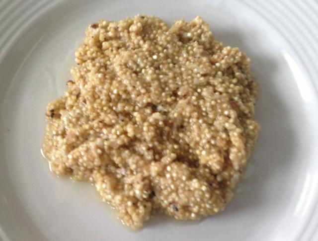 quinoa cacio e pepe served