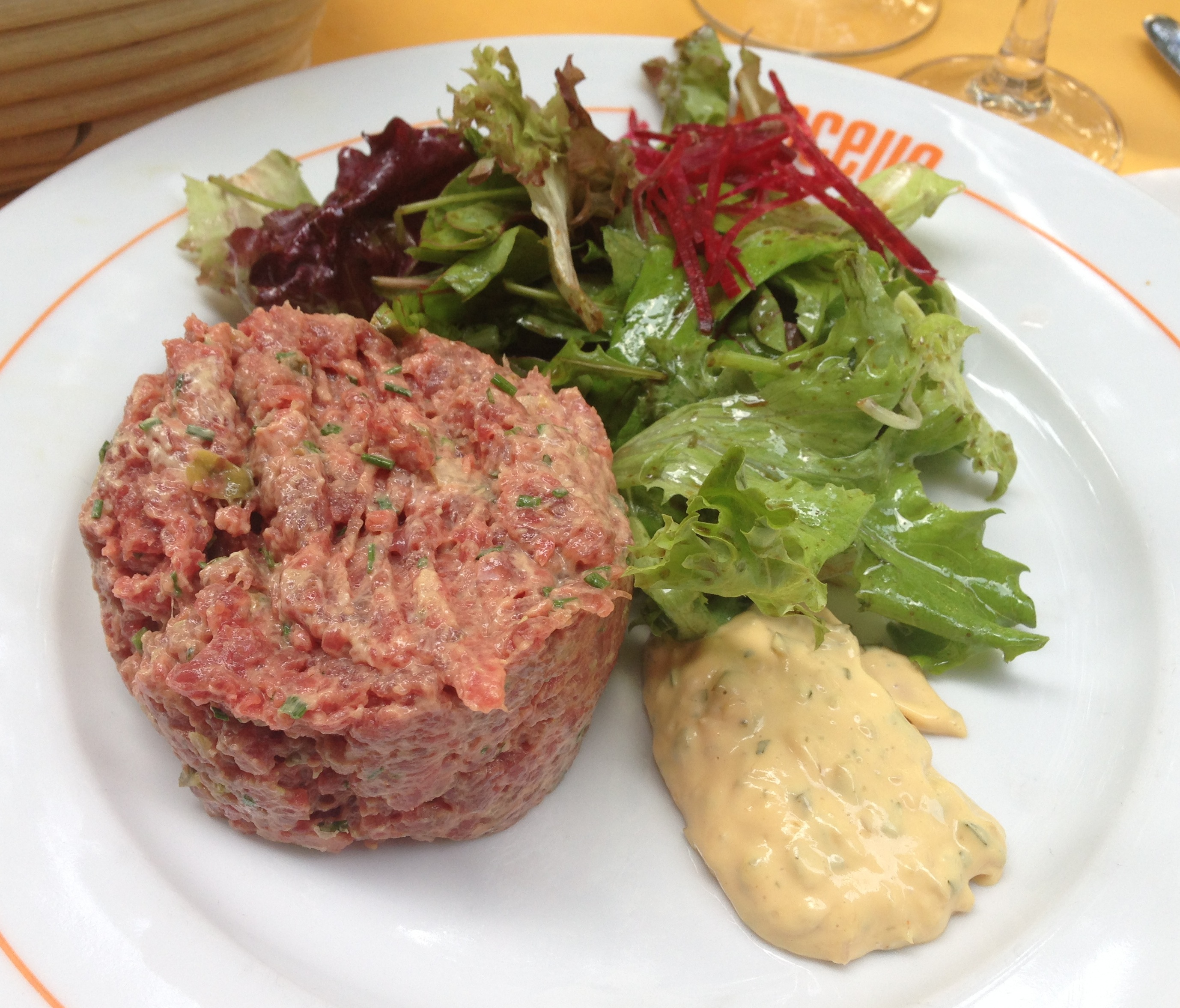 Steak tartare is always a must in Paris. Yes, it's raw beef and oh ...