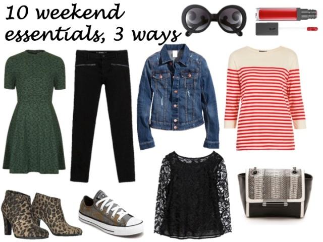 10 weekend essentials, 3 ways