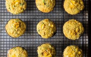 double corn quinoa cheddar muffins