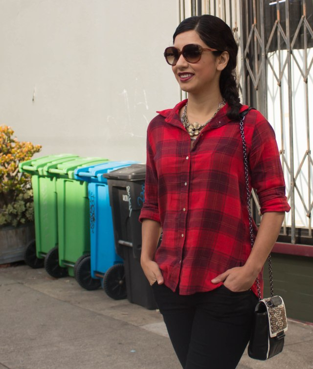 the difference between plaid and flannel - H&M red flannel shirt