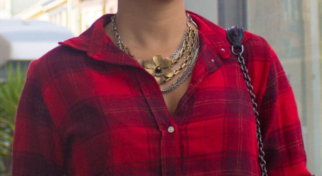 the difference between plaid and flannel - red flannel and statement necklace