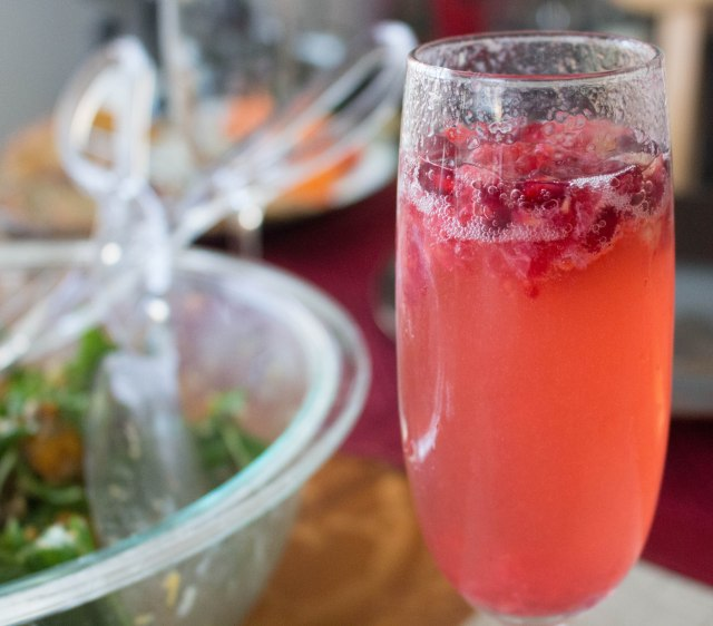 pomberry limoncello champagne cocktail