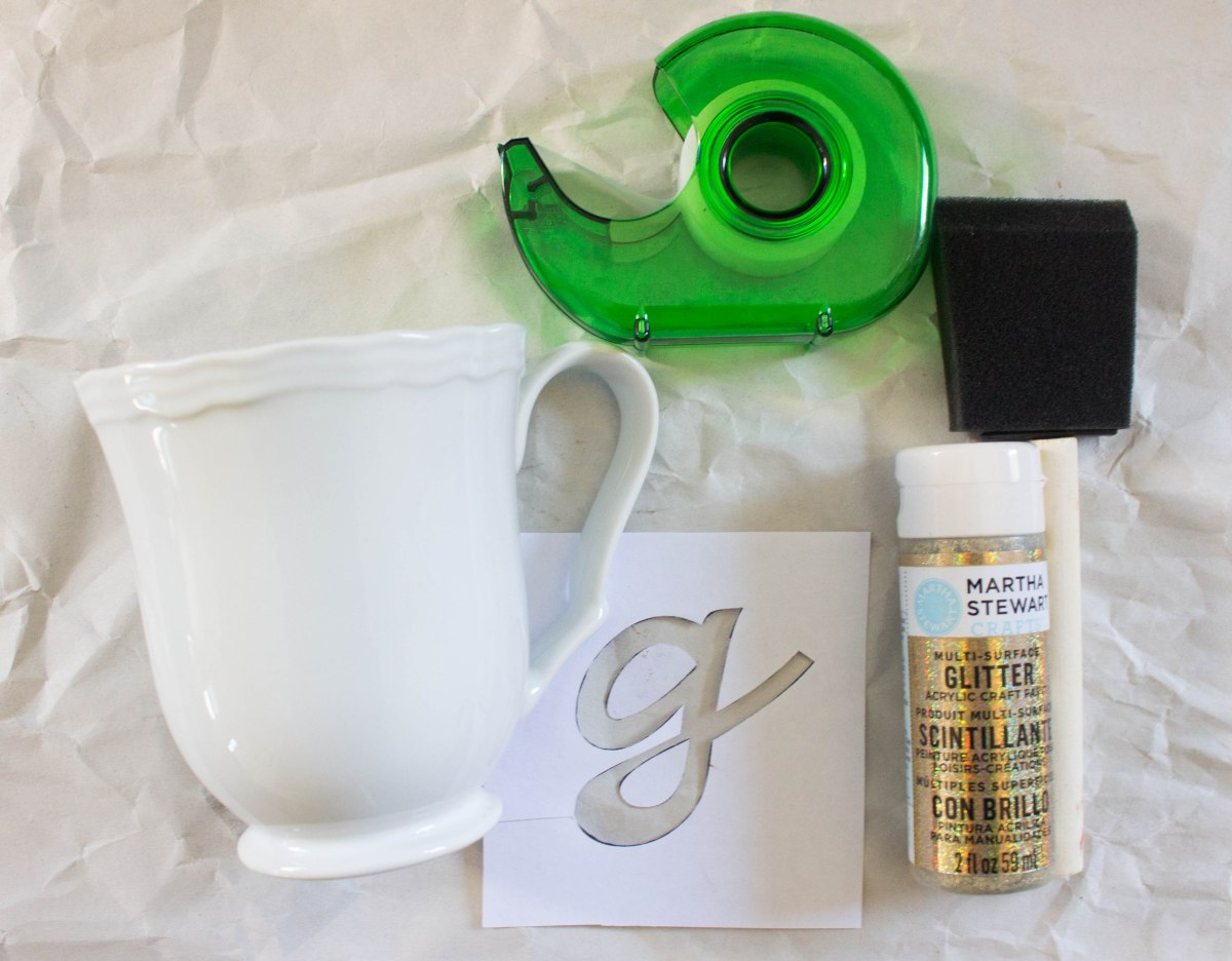 DIY glitter monogram mugs
