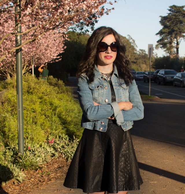 denim jacket with leather dress