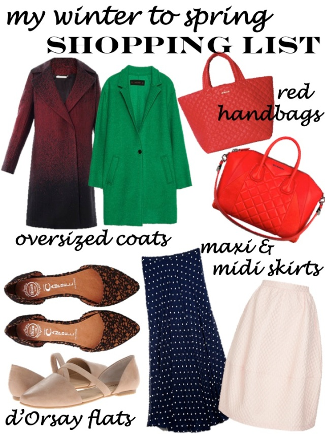 my winter to spring shopping list