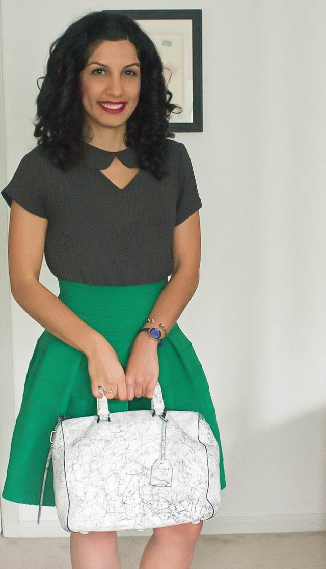 3.1 philip lim purse and green anthropologie skirt via beauty and sass