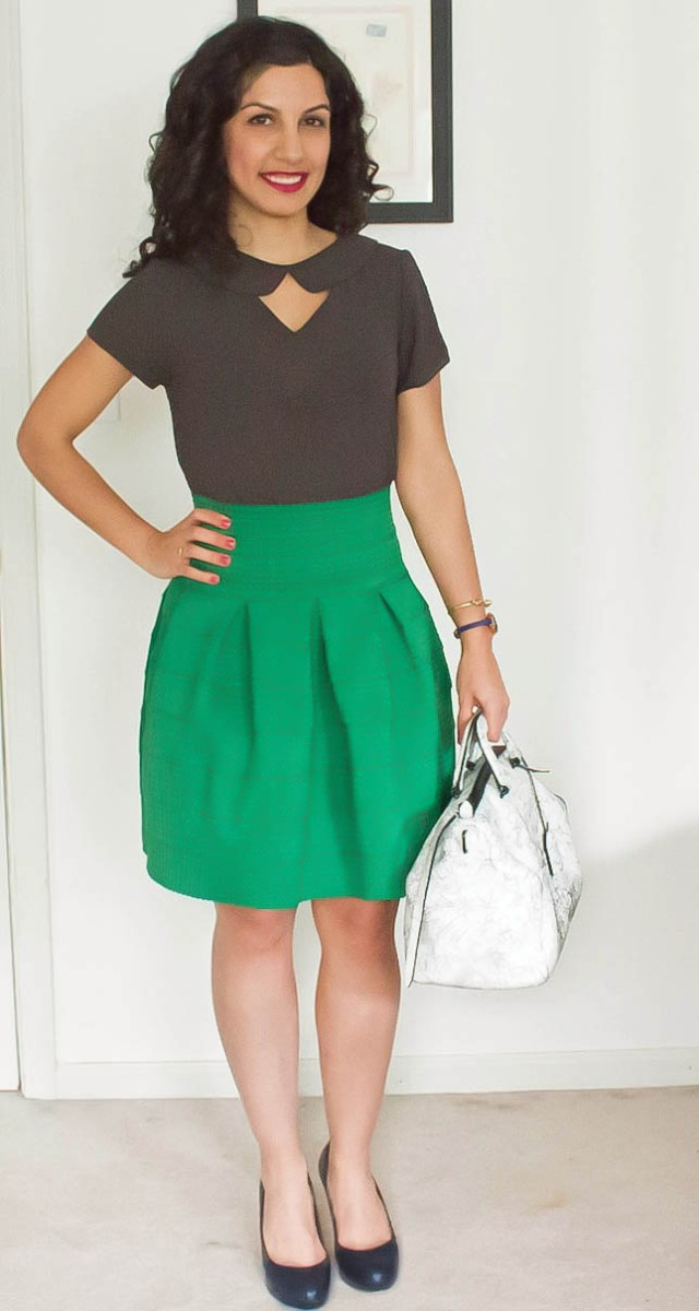 seeing green in full anthropologie skirt via beauty and sass