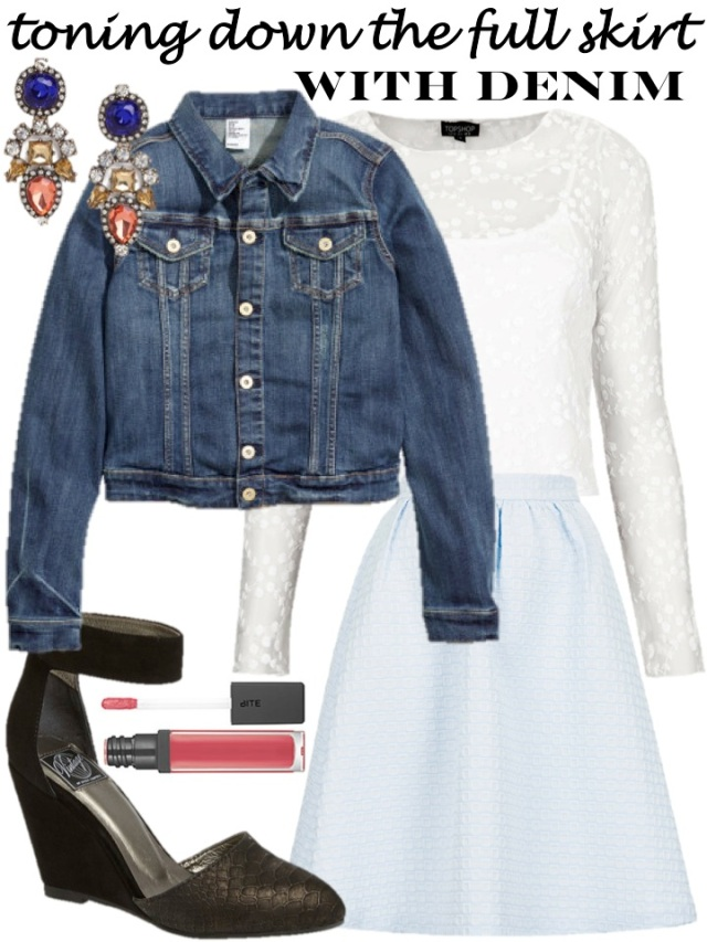 toning down the full skirt with a denim jacket via beauty and sass