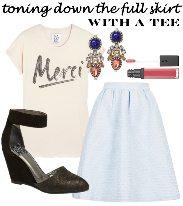 toning down the full skirt with a tee via beauty and sass