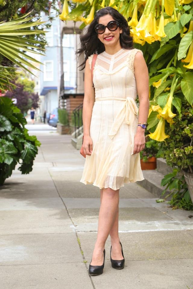 cream dress via beauty and sass