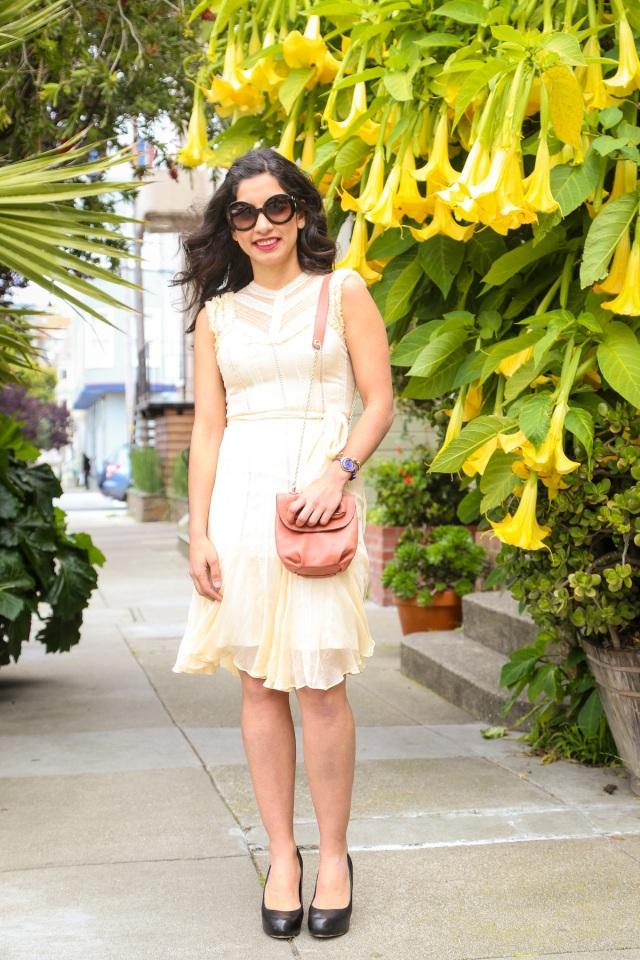 cream lace dress via beauty and sass