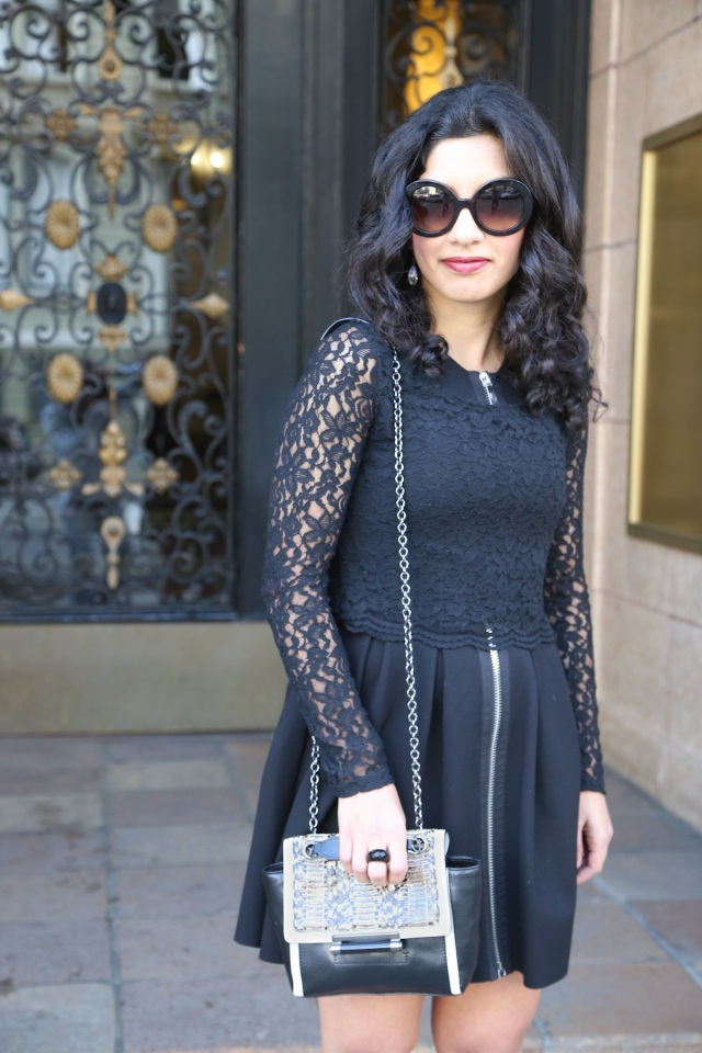 diane von furstenberg bag with lace top and maje dress via beauty and sass