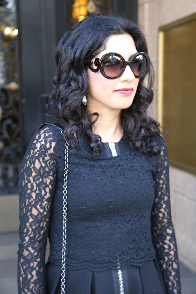 prada sunglasses, lace, zipper via beauty and sass