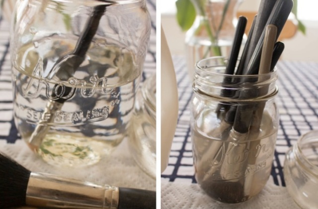 simple DIY makeup brush cleaner