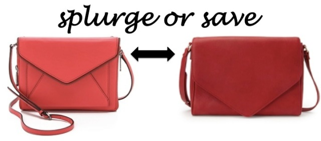 splurge or save red envelope handbag